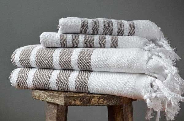 Herringbone Towels - Mocha - Indigo Traders
