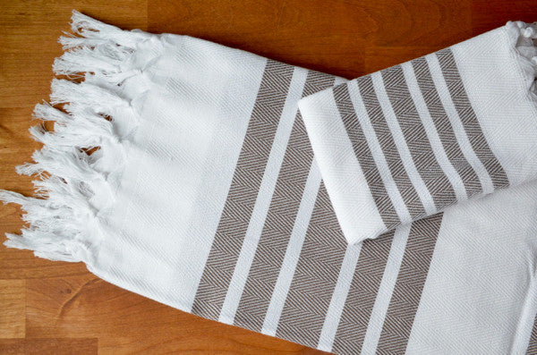 Herringbone Towels - Mocha
