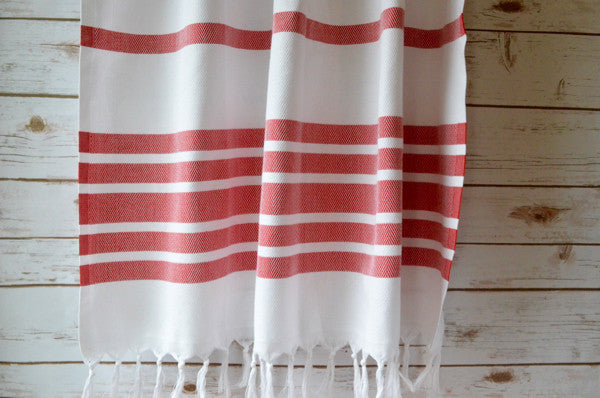 Herringbone Cotton Towel - Authentic Turkish Towel - Eco-friendly Hammam Towel - Perfect Travel Towel - Pestemal - Peshtemal - Lightweight Towel with Fringe