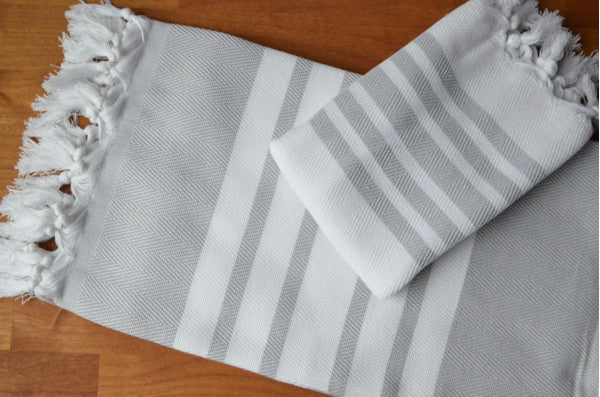 Herringbone Towels - Grey - Indigo Traders