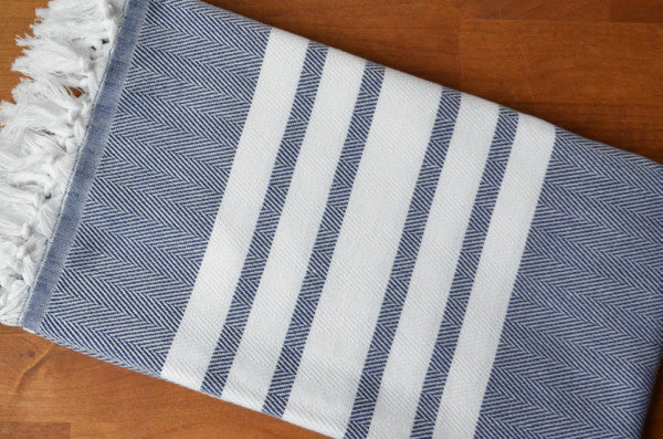 Herringbone Towels - Navy - Indigo Traders