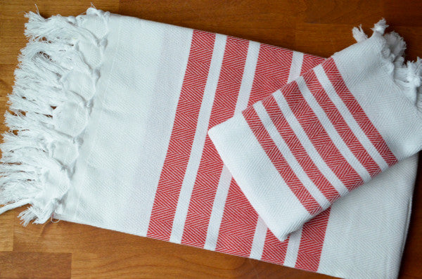 Herringbone Towels - Red - Indigo Traders