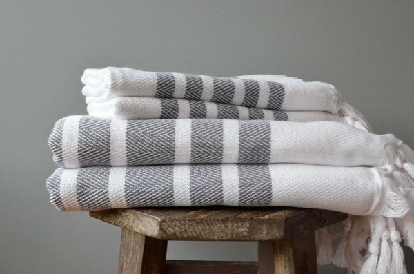 Herringbone Towels - Slate - Indigo Traders