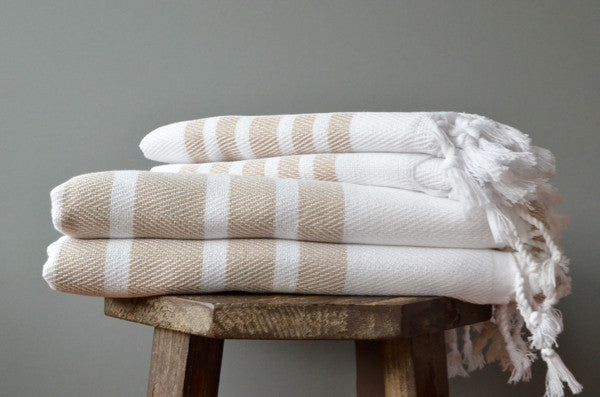 Herringbone Towels - Beige - Indigo Traders