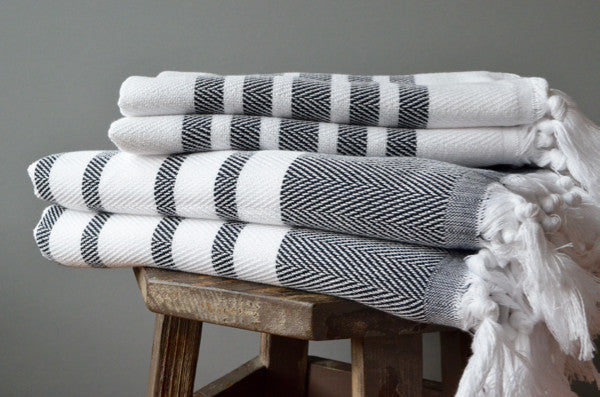 Herringbone Towels - Black - Indigo Traders