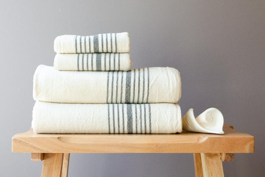 Black Linen Towel