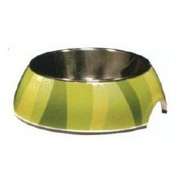 54526 STYLE BOWL WITH PATTERNS AND STAINLESS STEEL INSERT - JUNGLE STRIPES