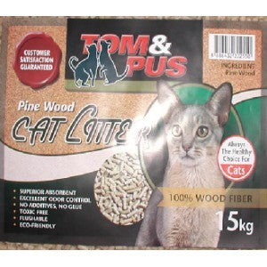 TOM N PUS PINE WOOD CAT LITTER 15KG