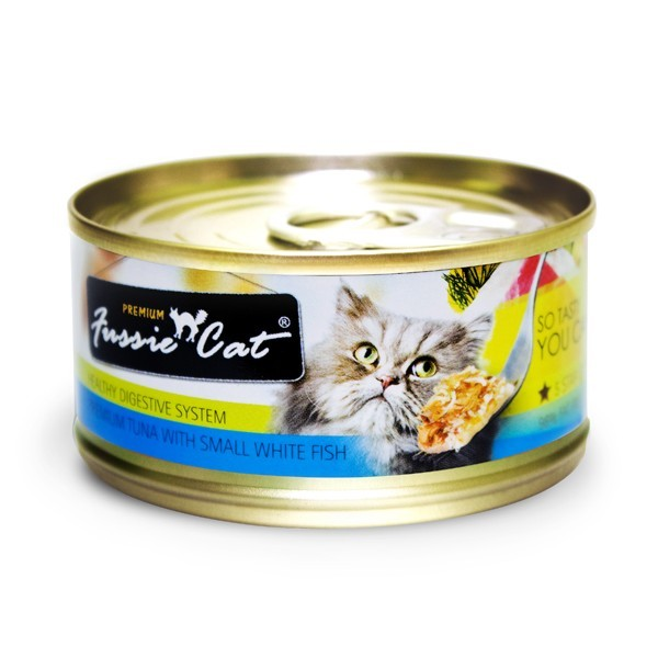FUSSIE CAT PREMIUM TUNA WITH SMALL WHITE FISH 3OZ X 24 CANS