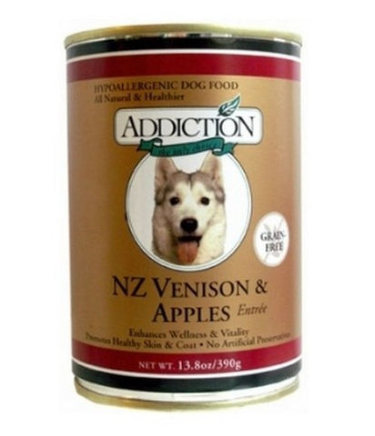 ADDICTION CANNED DOG FOOD NZ VENISON & APPLES ENTREE-GRAIN FREE (24 CANS)