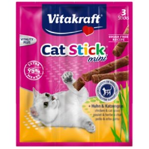 Vitakraft Cat Stick Mini Chicken & Cat Grass (20pcs/carton)