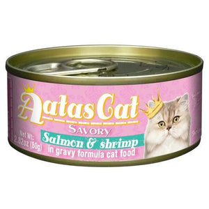 Aatas Cat Savory Salmon & Shrimp in Gravy Canned Cat Food 80g (24pcs)