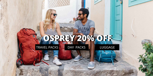 OSPREY 20% OFF LUGGAGE , TRAVEL PACKS & DAYPACKS