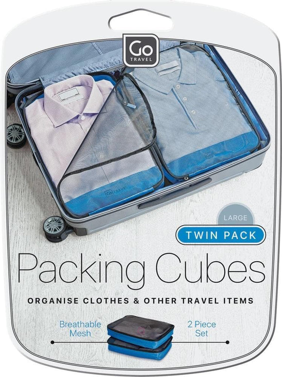 GO TRAVEL TWIN PACK PACKING CUBES BLUE