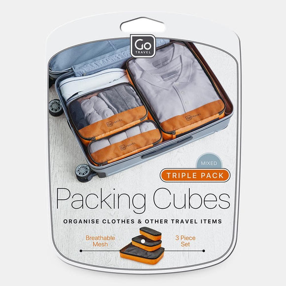 GO TRAVEL PACKING CUBES TRIPLE PACK ORANGE