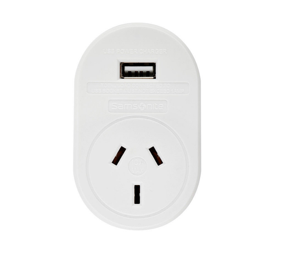 Samsonite International Travel Adaptor with USB Socket - UK, Hong Kong and More