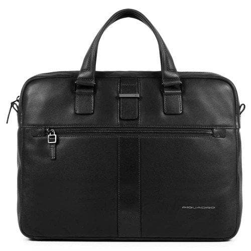 PIQUADRO LEATHER BRIEFCASE BLACK