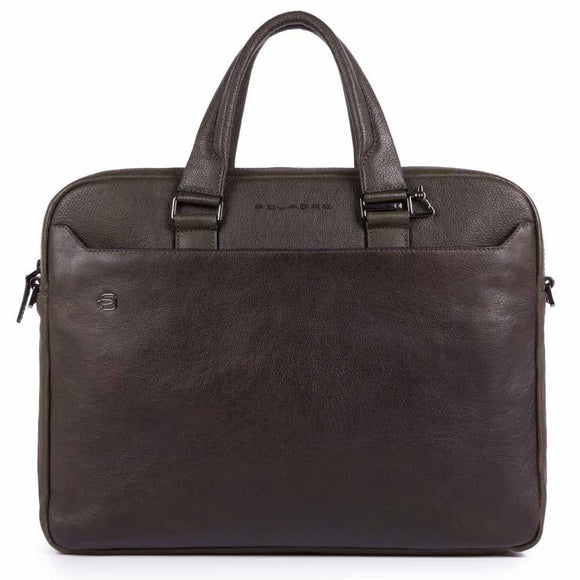 Piquadro Black Square Two-Handle Briefcase Dark Brown
