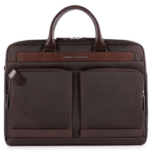 Piquadro Klout Large Computer Portfolio Briefcase Dark Brown
