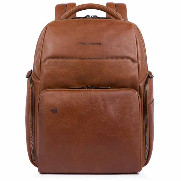 Piquadro Black Square Computer Leather Backpack Tobacco