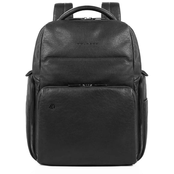 Piquadro Black Square Computer Leather Backpack Black