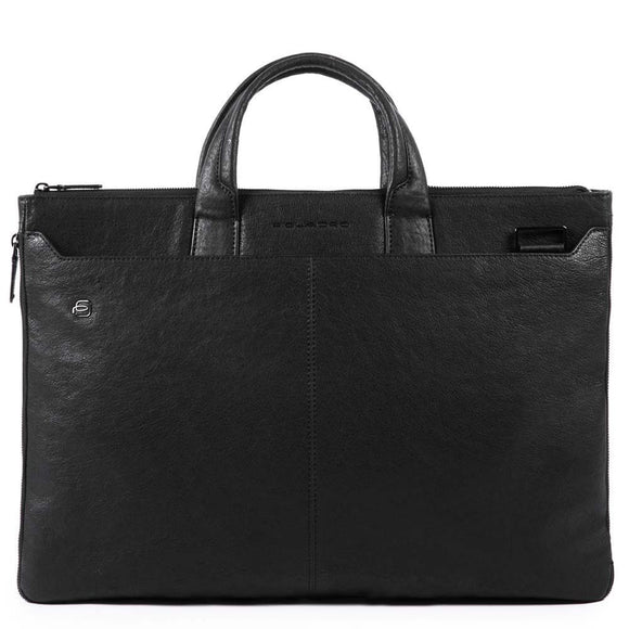 Piquadro Black Square Slim Expandable Briefcase Black