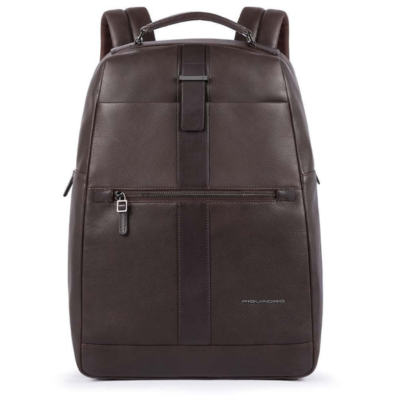 Piquadro Bae Fast Check Computer Backpack Dark Brown