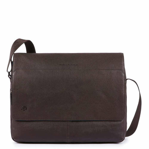 Piquadro Black Square Laptop Messenger Bag Dark Brown