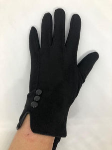 AUTN TRIPLE BUTTON TOUCH SCREEN GLOVES BLACK