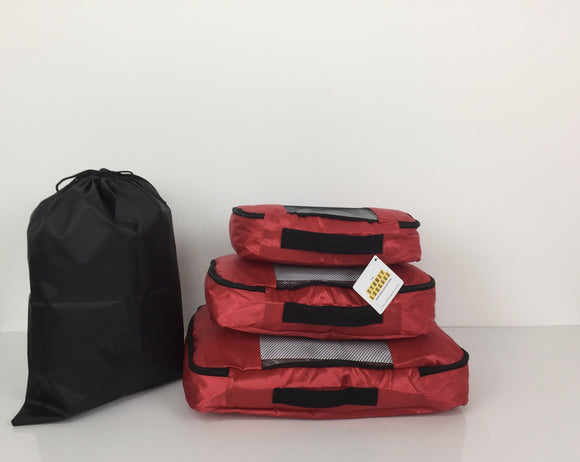 SYDNEY LUGGAGE PACKING CUBES SET OF 4 RED