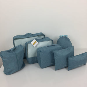SYDNEY LUGGAGE PACKING CUBES SET OF 7 LIGHT BLUE