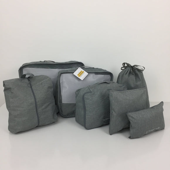 SYDNEY LUGGAGE PACKING CUBES SET OF 7 LIGHT GREY