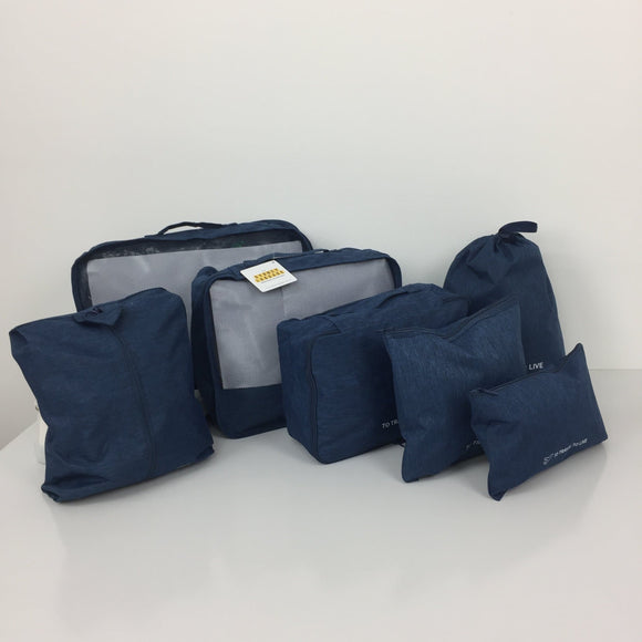 SYDNEY LUGGAGE PACKING CUBES SET OF 7 DARK BLUE