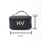 CUSTOMISE HQ MONOGRAM ZIP AROUND COSMETIC BAG BLACK
