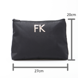 CUSTOMISE HQ MONOGRAM LARGE ZIP TOP POUCH BLACK