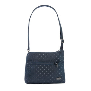 PACSAFE DAYSAFE SLIM CROSSBODY NAVY WHITE SPOTS