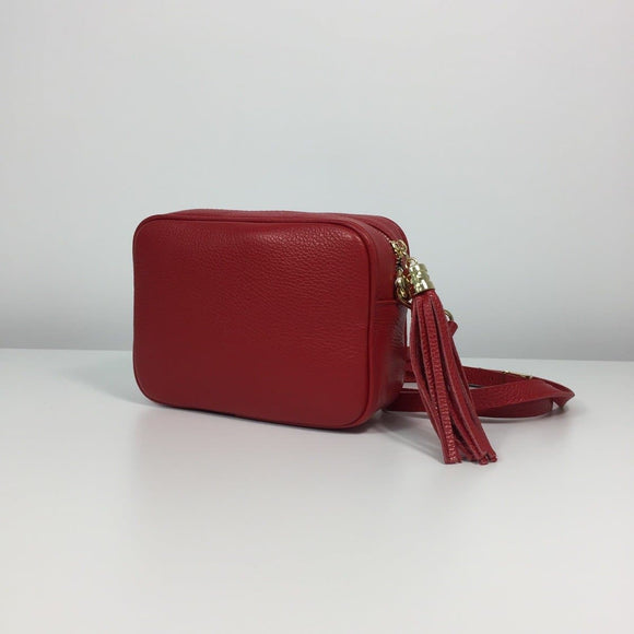 DONATELLO ITALIAN LEATHER TASSEL SHOULDER BAG ROSSO
