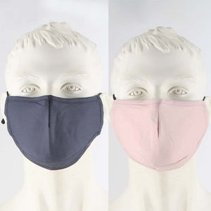 PACK OF 2 FABRIC FACE MASKS GREY/BLUSH