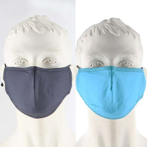 PACK OF 2 FABRIC FACE MASKS GREY/BLUE