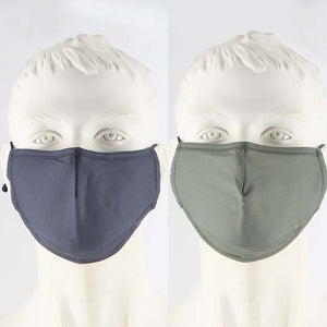 PACK OF 2 FABRIC FACE MASKS GREY/GREEN