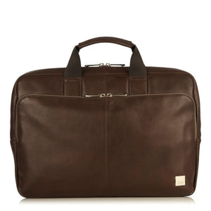 KNOMO NEWBURY FULL LEATHER SINGLE ZIP BRIEF 15 INCH BROWN