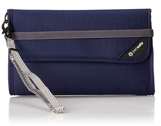 PACSAFE RFIDSAFE V250 RFID BLOCKING TRAVEL WALLET NAVY BLUE