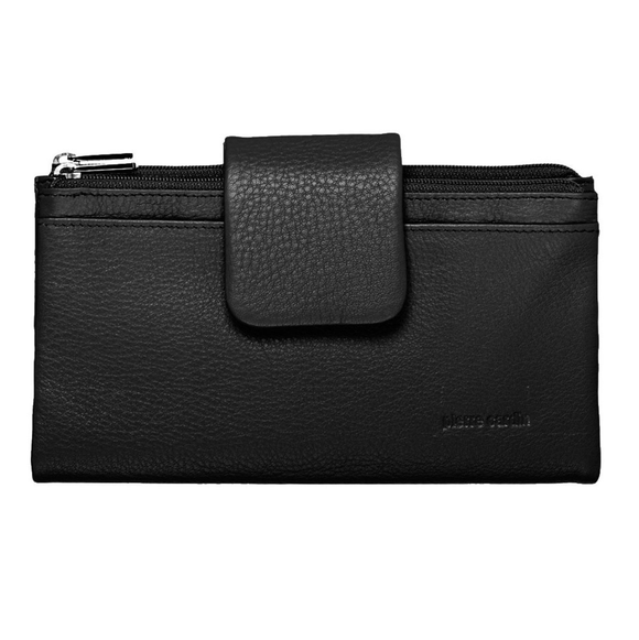 Pierre Cardin Italian Leather Ladies Horizontal Tab Wallet Black