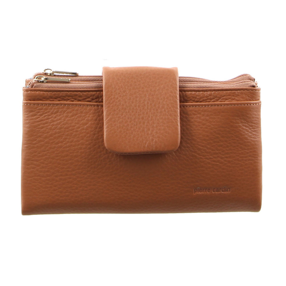 PIERRE CARDIN ITALIAN LEATHER LADIES HORIZONTAL TAB WALLET BLUSH