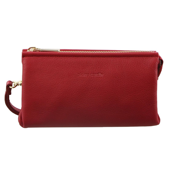 PIERRE CARDIN ITALIAN LEATHER LADIES WALLET CLUTCH CRANBERRY