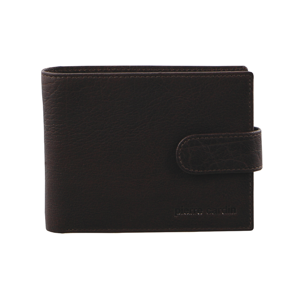 PIERRE CARDIN LEATHER HORIZONTAL TAB WALLET BROWN