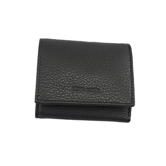 PIERRE CARDIN ITALIAN LEATHER MENS TRIFOLD WALLET WITH FLAP BLACK