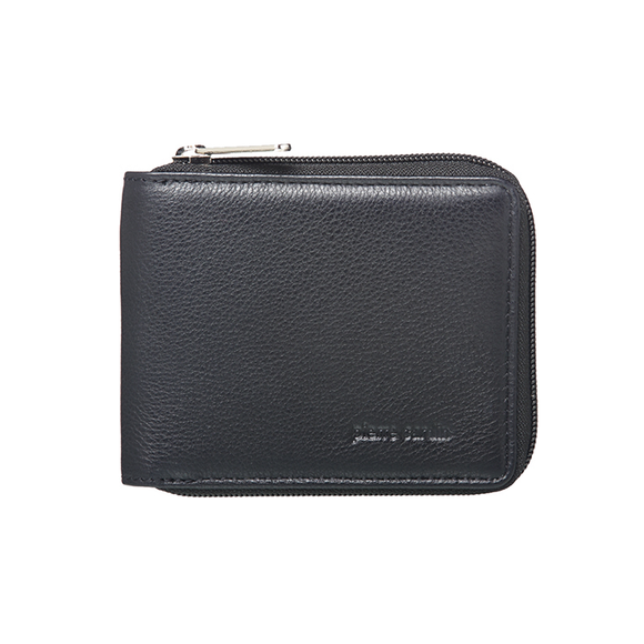 PIERRE CARDIN ITALIAN LEATHER MENS ZIP AROUND WALLET BLACK