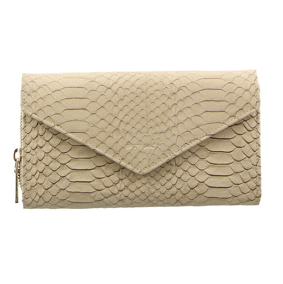 Pierre Cardin Italian Snake Embossed Leather Wallet Beige