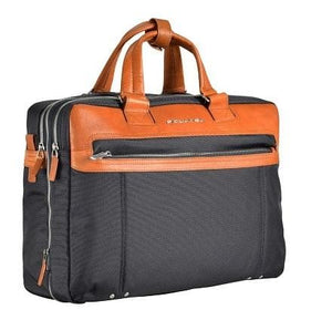 Piquadro Link Collection Double Handle Computer Portfolio Briefcase in Navy / Tan